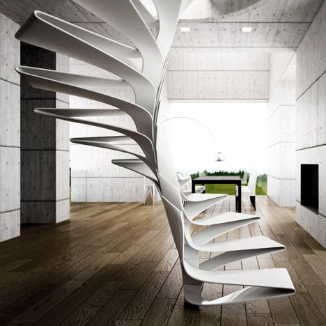 Italian studio Disguincio & Co has produced a concept for a spiral staircase with steps made from folds of fibreglass.