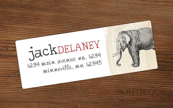 Personalized Address Labels  Elephant Rectangle by Bohtieque, $6.75