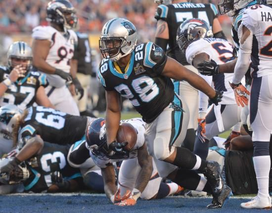 Carolina Panthers running back Jonathan Stewart (28) scores on a 1-yard run against the Denver Broncos during the second quarter Super Bowl 50 in Santa Clara, California on February 7, 2016. Photo by Kevin Dietsch/UPI