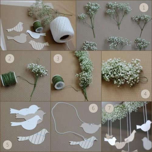 vicky: baby breath decoration: cute garland idea for doorways~ the doves are cute, but u can substitute with hearts too (: or even your initials!