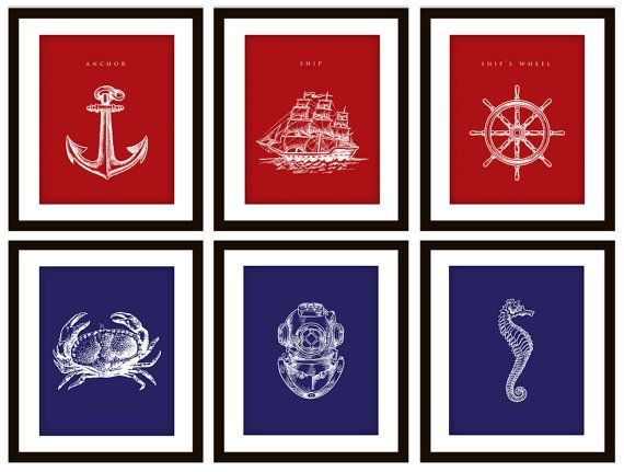 """Need to remember this when I re-do my bathroom. Nautical Red and Blue Bathroom Artwork (8x10"""") Sweeeeeet.  #Nautical #Bathroom #Design #Trendy #Anchor"""