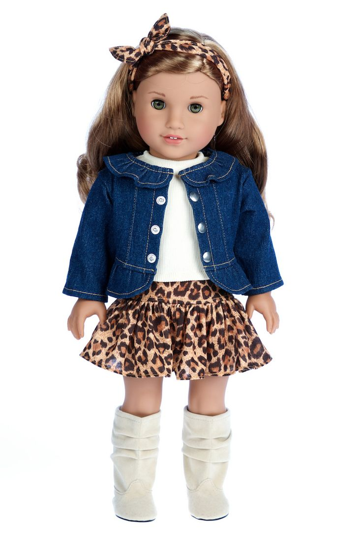 Adventure - Clothes for 18 inch Doll - 5 Piece Outfit - Jeans jacket, Ivory Tank Top, Skirt, Scarf and Boots