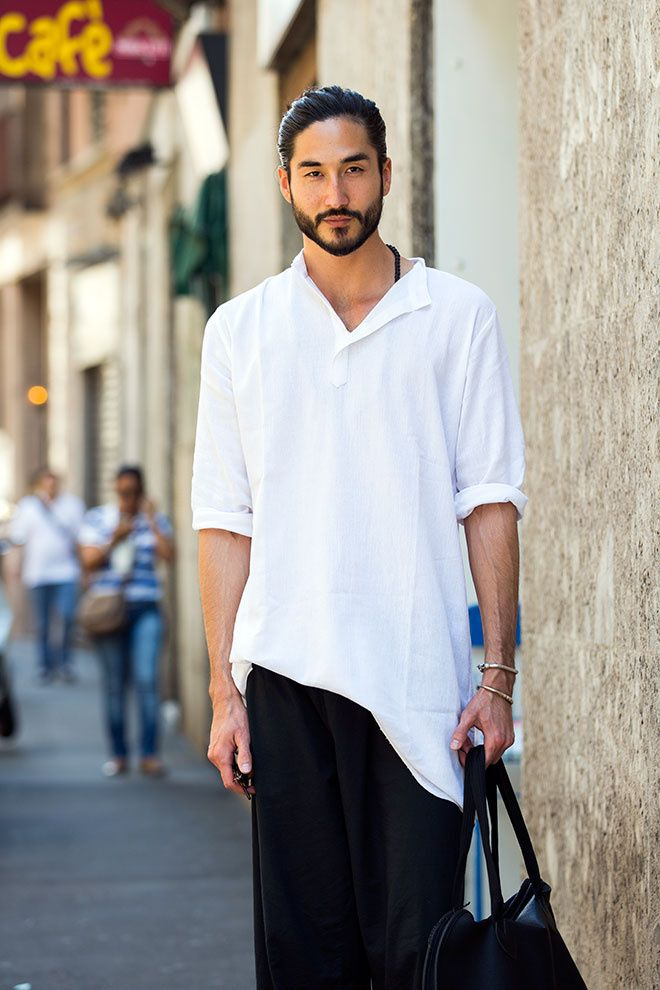 Street looks à la Fashion Week homme Milan, barbe, t-shirt blanc