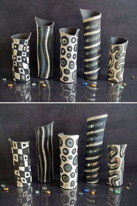ceramic vases by Federico Becchetti Art / raku pottery black and white vases, modern vases, decorative vases, ikebana vase, pottery vases, wedding vases, home decor