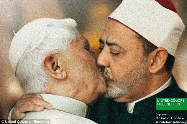 United Colors of Benetton Unhate Campaign ad deemed controversial: This mocked-up image of the Pope embracing Ahmed Mohamed el-Tayeb as part of Benetton's new advertising campaign has been called 'totally unacceptable' by the Vatican. Click the image to see additional ad images from this campaign.