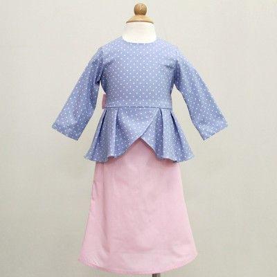 Polka Peplum Baju Kurung- Baby Blue & Pink