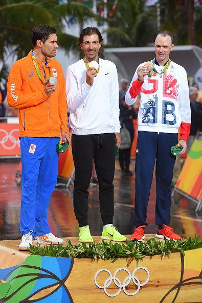 Rio 2016 Olympics Men's ITT Podium Tom Dumoulin Silver, Fabian Cancellara Gold, Chris Froome Bronze / Tim de Waele