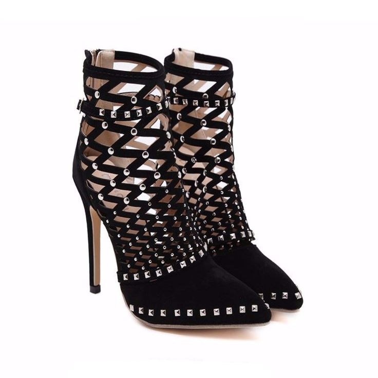 Sexy Studded Cut Out Women Stiletto Ankle Boots