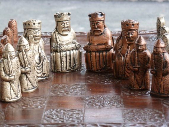 Isle Of Lewis Chess Set with Viking Berserker Rook, Customisable Colours (Pieces only/Board not included) Harry Potter,Governor Walking Dead
