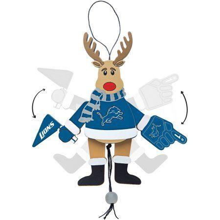 Topperscot by Boelter Brands NFL Wooden Cheering Reindeer Ornament, Detroit Lions, Blue