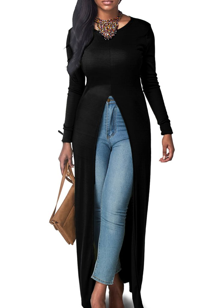 High Slit Black Long Sleeve Maxi Blouse on sale only US$26.85 now, buy cheap High Slit Black Long Sleeve Maxi Blouse at lulugal.com