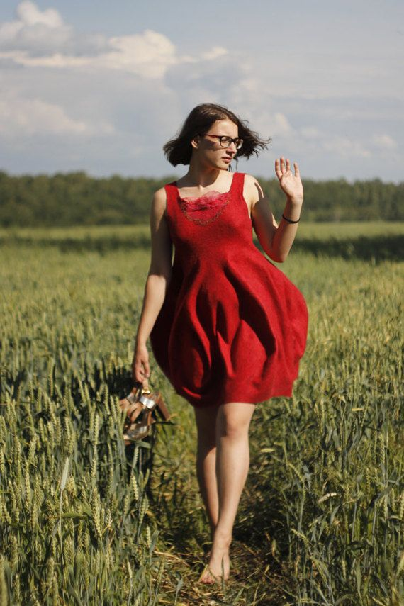 Felting dress Red Tulip от NatalyKara на Etsy Felted Dress | Red Dress | Loose Dress | Felt Dress | Spring Dress | silk dress | Short dress | spring felt dress | Retro Wedding Dress