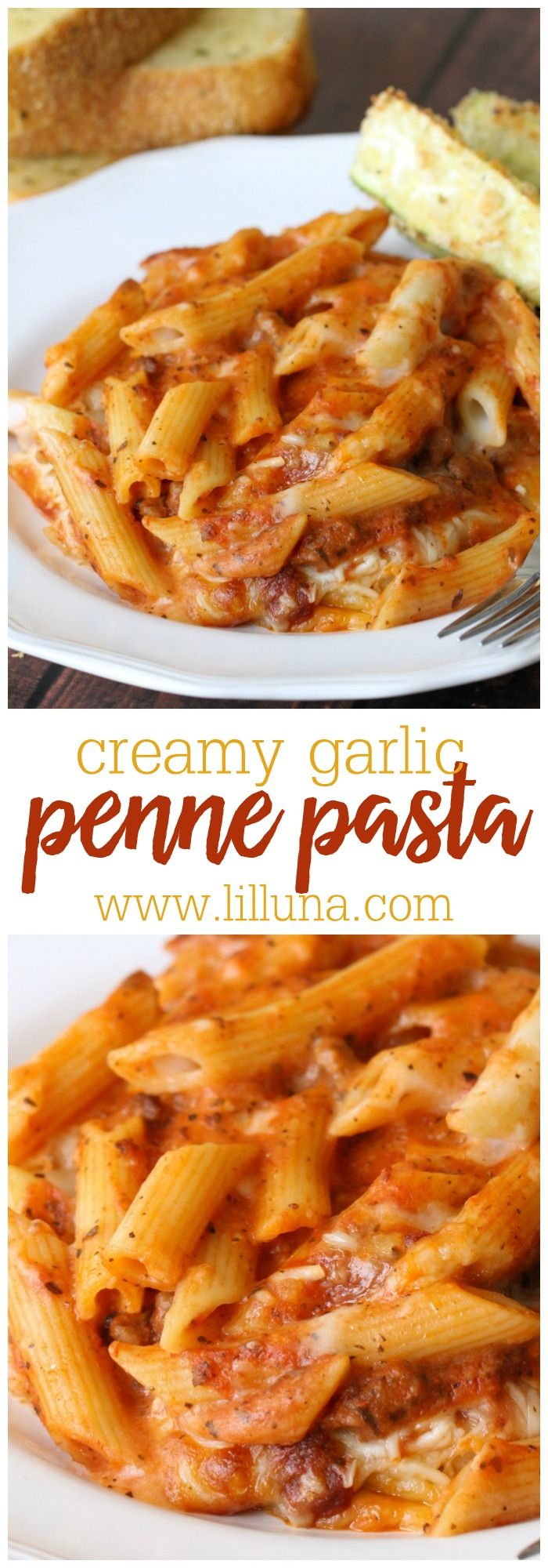 One of the best Italian recipes ever- Mozzarella Penne! BEYOND delicious! { lilluna.com } So creamy with lots of flavor!! Includes sausage, tomato sauce, tons of seasonings, and cheeses!!