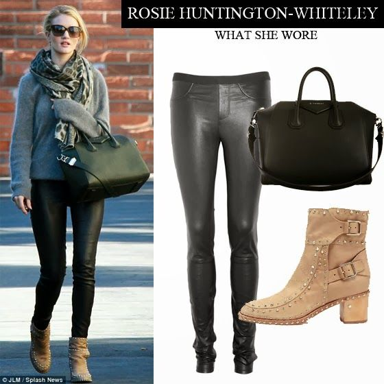 Rosie Huntington-Whiteley in black leather skinny pants with grey sweater and beige ankle boots