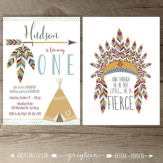 Tribal Southwest Birthday Party Invitations • invites • arrows feathers tribal native teepee • first birthday • DIY Printable •  by greylein