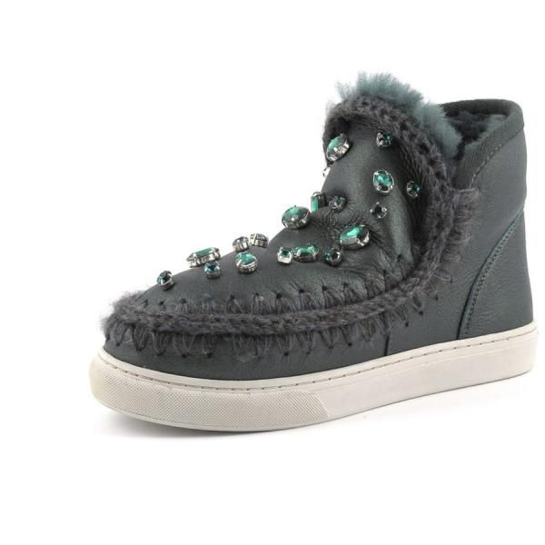 New for autumn winter 2014, a be-jeweled version of the mini-eskimo sneaker, offering the perfect mix of the iconic eskimo boot with a fashion sneaker. Crochet stitch detailing and soft double-face sheepskin are teamed with a durable, comfort sole to take you anywhere this winter.