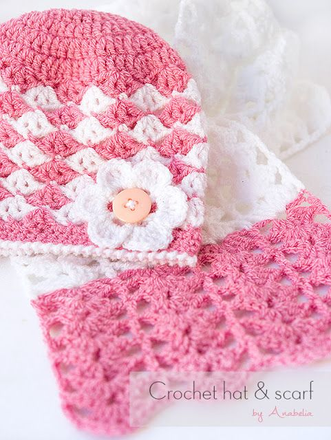 Crochet baby hat and scarf, free pattern