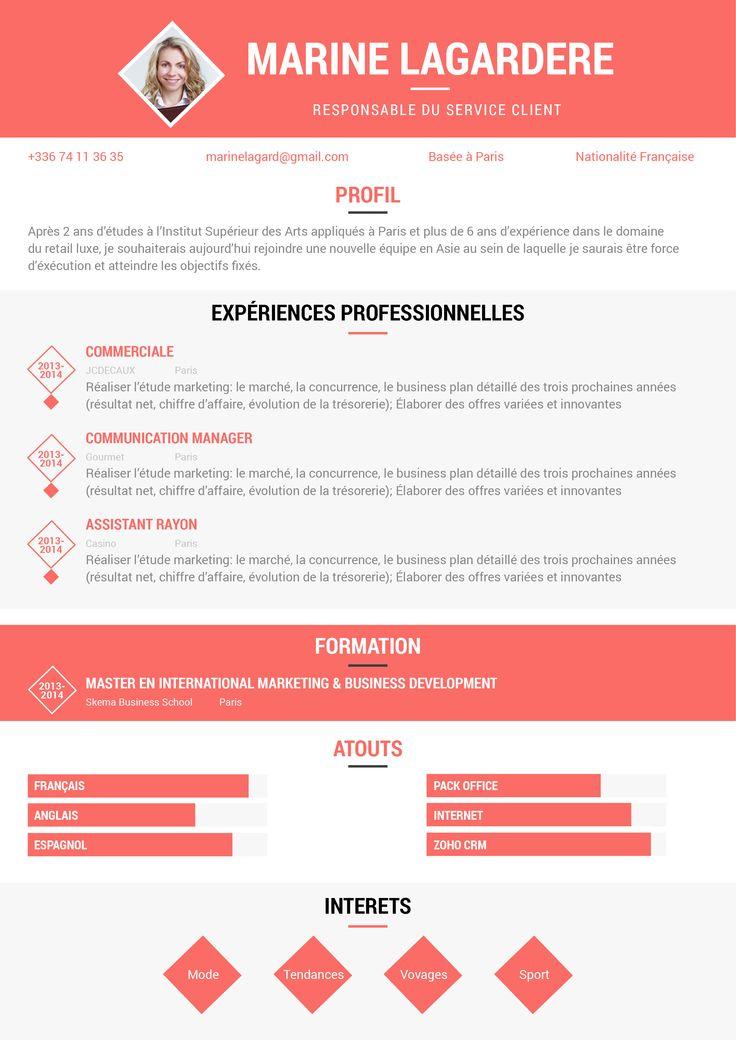 8 best modelesCV images on Pinterest   Resume templates, Curriculum ...