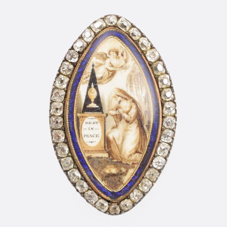 "Georgian Diamond Navette ""Rest In Peace"" Memorial Brooch                      – Butter Lane Antiques"