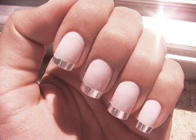 french manicure with metallic adesive tips  FROM: http://beautylish.tumblr.com/post/3051959206/way-cool-french-manicure-see-how-to-create-an