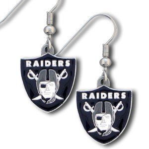 NFL Dangling Earrings - Oakland Raiders Logo  https://allstarsportsfan.com/product/nfl-dangling-earrings-oakland-raiders-logo/  Enameled zinc logo earrings with team logo. A great way to show off your team spirit!