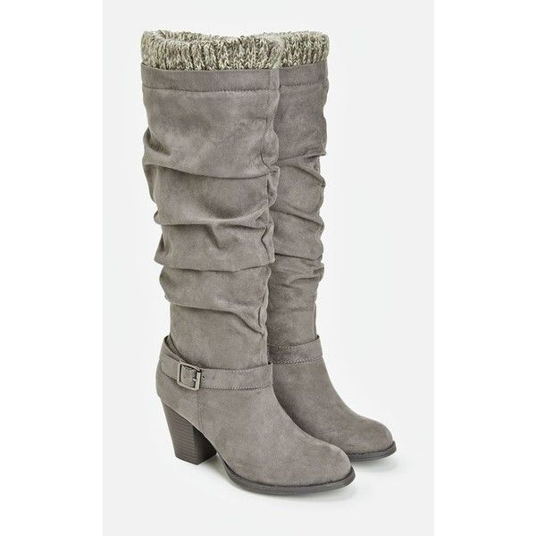 Justfab Heeled Boots Marisol ($40) ❤ liked on Polyvore featuring shoes, boots, grey, high heel boots, platform heel boots, grey boots, faux-fur boots and slouch boots