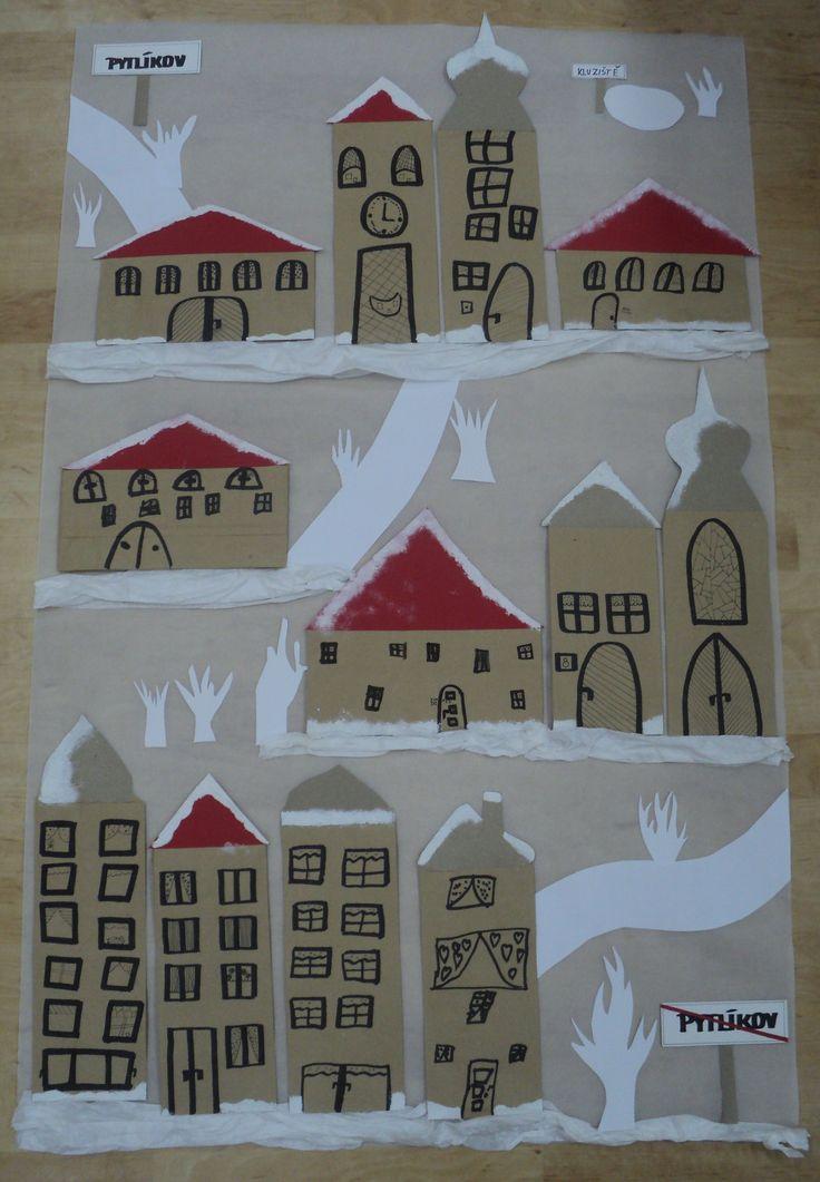 Zimní městečko Pytlíkov - domky z papírových sáčků (společná práce)