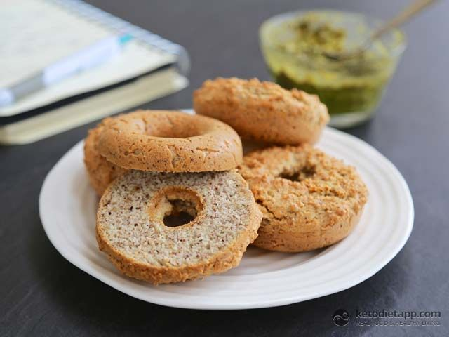 "Easy Low-carb Bagels. Loved this recipe so much I bought a ""bagel"" (i.e. donut) pan to bake them in!"