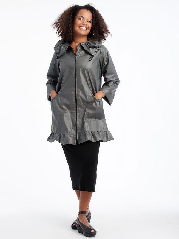 Waxed linen Rain coat with tank dress www.lousjeandbean.ca  #lousjeandbean #linencotton #raincoat #tankdress #shoplocal #canadianmade Tessa Oort ~ Lousje & Bean