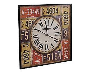 Reloj de pared en DM y papel, multicolor - cuadrado