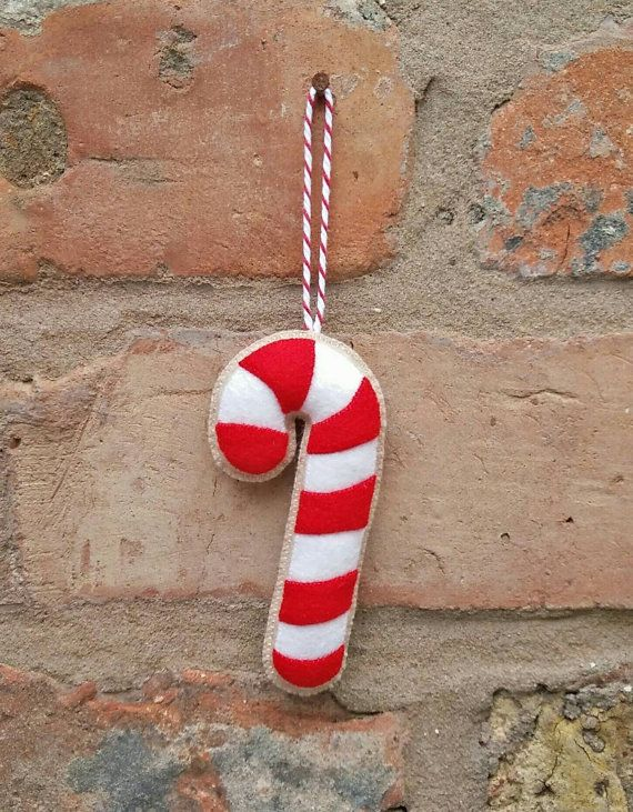 Natale candy cane biscotto ornamento del feltro di TillysHangout
