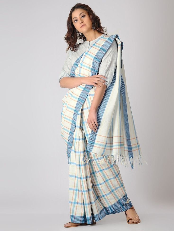 Buy Ivory Blue Rust Checkered Organic Cotton Saree Sarees Woven The Wondrous Jamdani khadi fabric to craft your wardrobe's trophy pieces Online at Jaypore.com