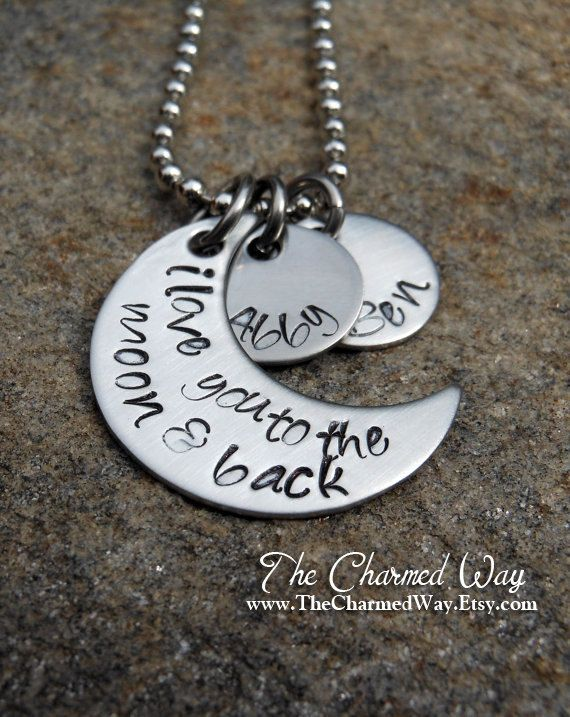 Want this!!  Personalized Necklace -  I love you to the moon and back - Hand Stamped with Names. $28.00, via Etsy.