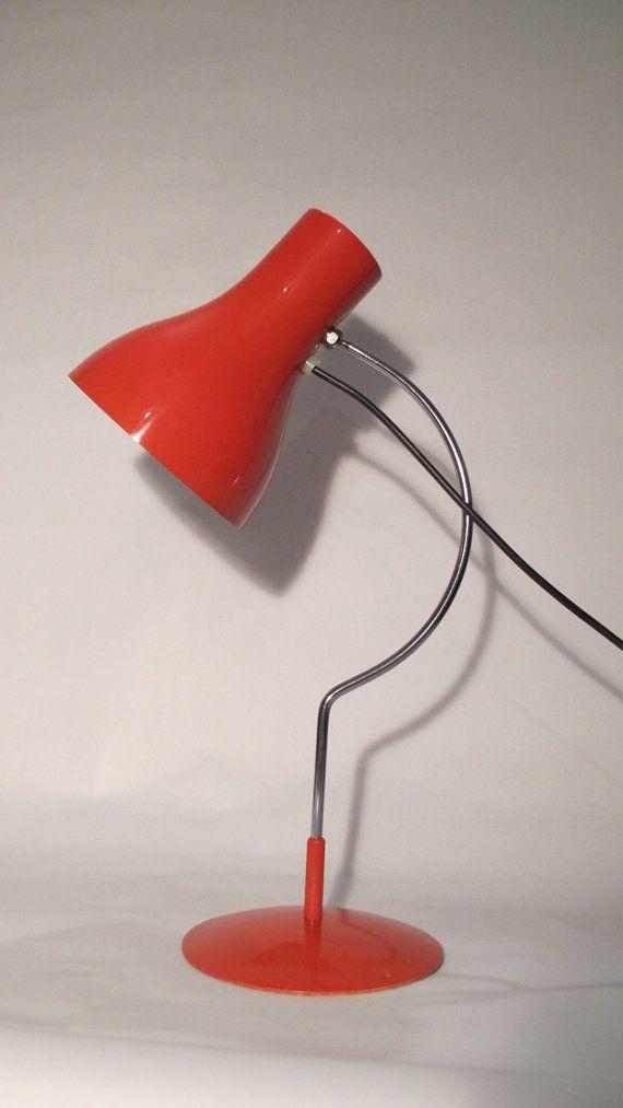 Josef Hurka Red 0521 Desk Lamp for napako 1960s mid century vintage