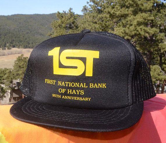 e46efc4c5645c ... cheap 80s vintage trucker hat fort hays kansas 1st bank snapback mesh  black baseball cap rockstar ...