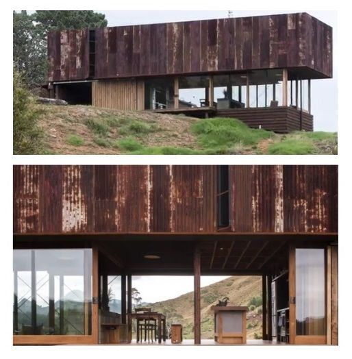 """Home located on a small farm on the Coromandel Peninsula by Herbst Architects.Their brief: """"interiors of old shearing sheds and materials that were cracked, rusted, scratched and bashed."""" Photo Credit: Patrick Reynolds."""