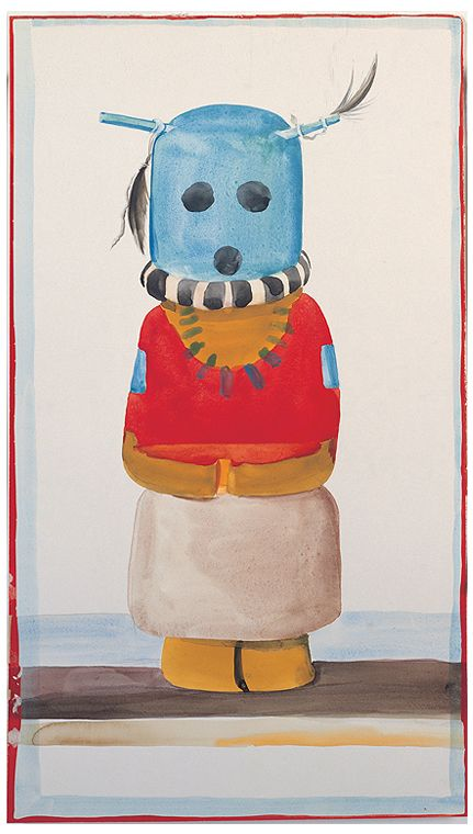 Georgia O'Keeffe, Blue-Headed Indian Doll, 1935. Watercolor and graphite; 21 x 12-1/8 in.  Georgia O'Keeffe Museum; Gift of The Burnett Foundation (1997.06.009). © Georgia O'Keeffe Museum.  www.denverartmuseum.org