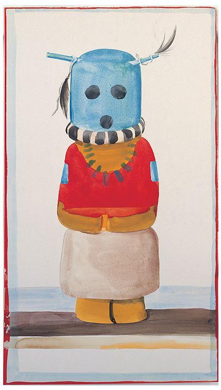 Georgia O'Keeffe, Blue-Headed Indian Doll, 1935. Watercolor and graphite; 21 x 12-1/8 in.  Georgia O'Keeffe Museum; Gift of The Burnett Foundation (1997.06.009). © Georgia O'Keeffe Museum.  www.denverartmuseum.org