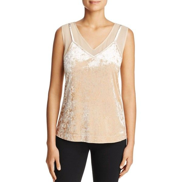 Love Scarlett Crushed Velvet Chiffon Tank ($46) ❤ liked on Polyvore featuring tops, gold, chiffon tank top, evening wear tops, chiffon tops, chiffon tank and crushed velvet top
