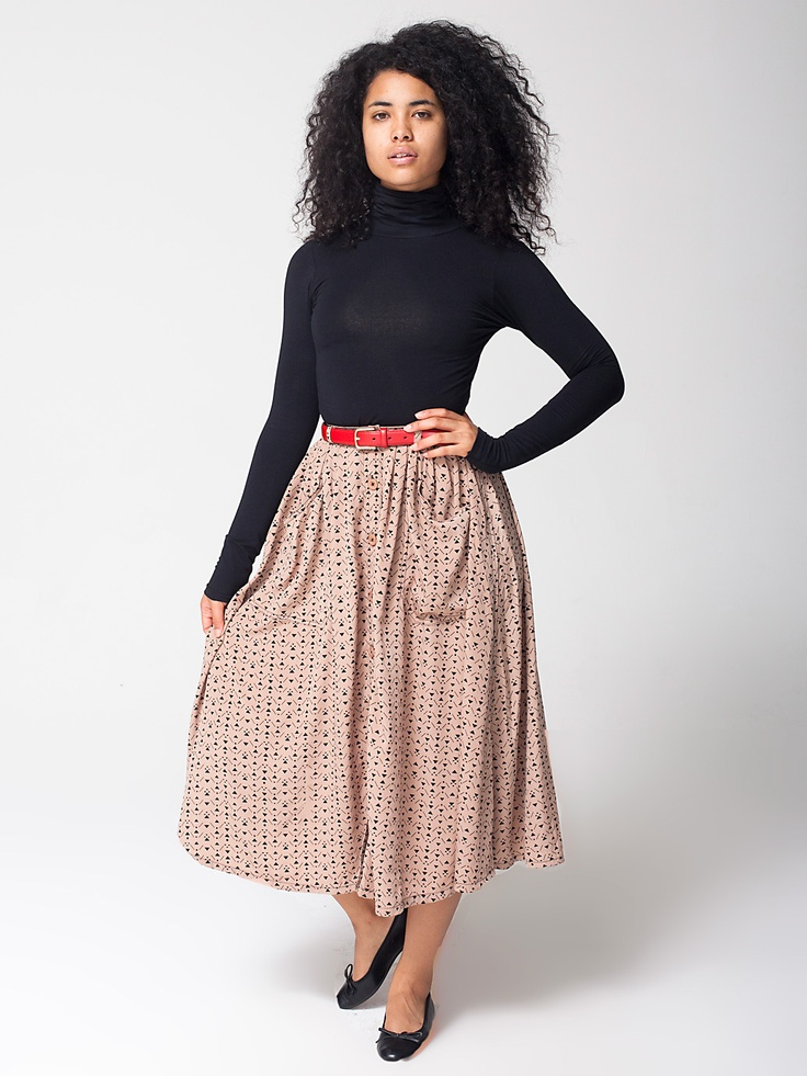 Polyester Button Up Long Skirt | Long | Women's Skirts | American Apparel