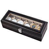 Amzdeal 6 Grids Mens Watch Box Jewelry Display Glass Top Leather Box -Black #FabOffers #FabBestSellers #GoldBox #GoldboxDeals