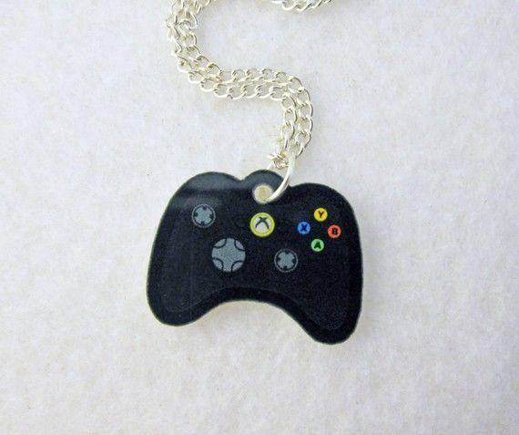 Acrylic Black XBOX 360 Controller Gamer Necklace