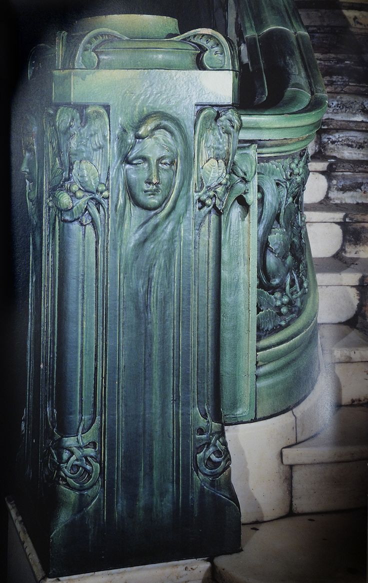 This Art Nouveau newel post is at the bottom of the staircase in the New Amsterdam Theatre, New York, designed by the Norwegian architect Thorbjorn Bassoe and made by the Perth Amboy Terra Cotta Co. of New Jersey in 1902-03.