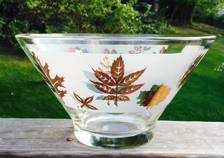 Mid Century Large Glass Bowl with Gold Painted Leaves by VintageVixens1 on Etsy