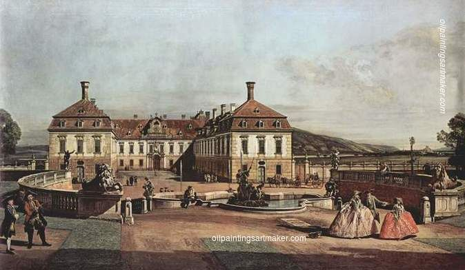 Bernardo Bellotto The imperial summer residence, courtyard, 1758 oil painting sale, painting Authorized official website