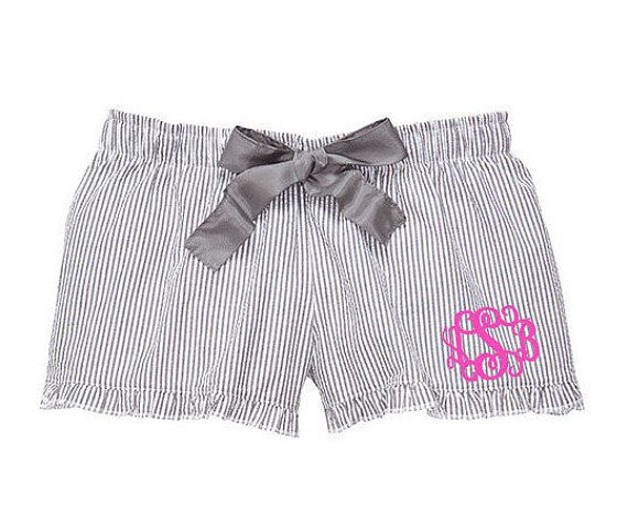 Monogrammed Seersucker Pajama Shorts  Charcoal by fourbugsinarug