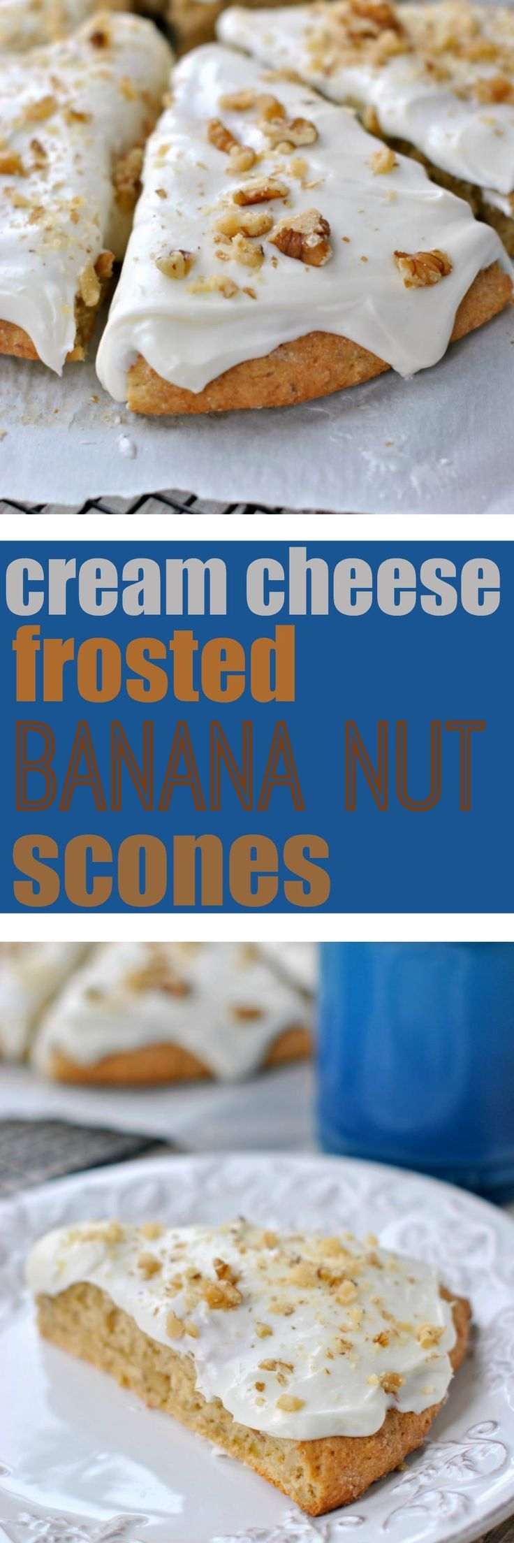 These Banana Nut Scones are so easy to make. I frosted them with a smooth Cream Cheese frosting that is to die for!