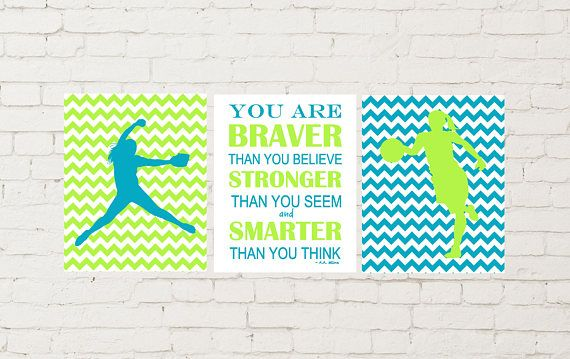 Softball pitcher, basketball girl, chevron girls room decor, lime and teal room colors, sports theme room decor, you are braver than you