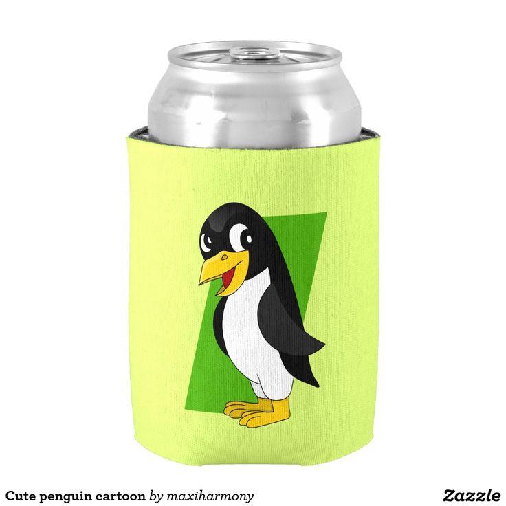 Cute penguin cartoon can cooler