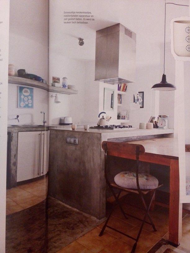 Combi cement en wit met houten vloer  Keuken  Pinterest  Cement and ...